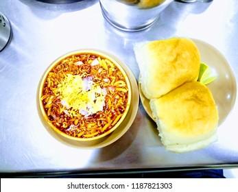 Misal Pav, a delicious dish traditionally cooked in the Kolhapur region of Maharashtra, India.