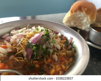 Misal Pav - Indian street food specially famous in Maharashtra and North of Karnataka.