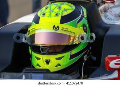 Misano Adriatico, Italy - April 10, 2016: A Tatuus F4 T014 Abarth of Prema Power Team team, driven by Schumacher Mick,  the Italian F4 Championship Powered by Abarth in Misano World Circuit.