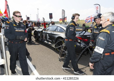 Misano Adriatico, Italy - April 10, 2016: BMW F13 M6 GT3 of Boutsen Ginion Racing Team, driven by Matias Henkola and Maxime Martin,  the Blancpain GT Series Sprint Cup in Misano World Circuit.