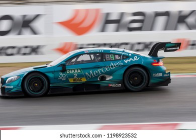 Misano Adriatico, Italy - August 25, 2018: A Mercedes-AMG C 63 DTM of Mercedes-AMG Motorsport PETRONAS Team, driven by Gary Paffett,  during race at the DTM Misano in Misano World Circuit.