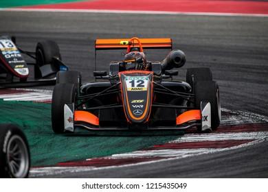 Misano Adriatico, Italy - August 25, 2018: A Dallara F317 – Mercedes-Benz of Van Amersfoort Racing Team, driven by Artem Petrov,  during Fia Formula 3 European Championship race  in Misano.