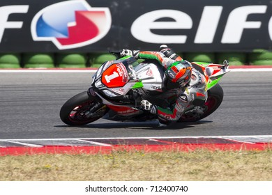 Misano Adriatico, Italy - July 29, 2017: Aprilia of Nuova M2 Racing, driven by Baiocco Matteo in action during the Superbike Race 1 during the CIV 2017 at Misano World Circuit