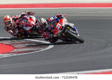 Misano Adriatico, Italy - July 29, 2017: Yamaha of Speed Action Racing, driven by Andreozzi Alessandro in action during the Superbike Race 1 during the CIV 2017 at Misano World Circuit