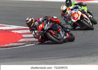 Misano Adriatico, Italy - July 29, 2017: Kawasaki of CM Racing Team Racing, driven by Saltarelli Simone  in action during the Superbike Race 1 during the CIV 2017 at Misano World Circuit