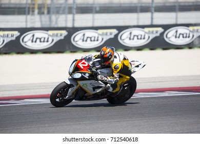 Misano Adriatico, Italy - July 29, 2017: Bmw of DMR Racing Racing, driven by Goi Ivan in action during the Superbike Race 1 during the CIV 2017 at Misano World Circuit