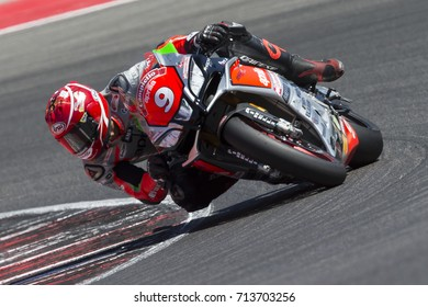 Misano Adriatico, Italy - July 29, 2017:Aprilia of Nuova M2 Racing Team, driven by MANTOVANI Andrea in action during the Superbike Race 1 during the CIV 2017 at Misano World Circuit