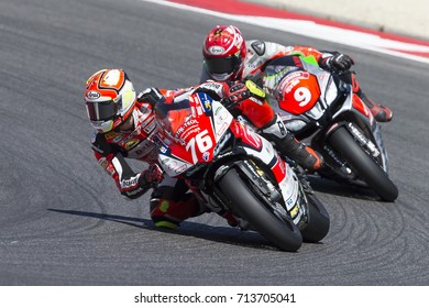 Misano Adriatico, Italy - July 29, 2017: Ducati of Barni Racing, driven by CAVALIERI Samuele in action during the Superbike Race 1 during the CIV 2017 at Misano World Circuit