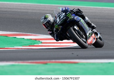 Misano Adriatico, Italy, September 15 2019 MAVERICK VINALES, SPANISH RIDER NUMBER 12 FOR YAMAHA MONSTER TEAM IN MOTOGP  during Sunday Warm-up & Race Of The Motogp Of San Marino And Riviera Of Rimini