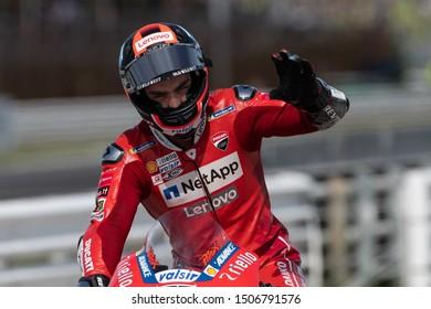 Misano Adriatico, Italy, September 15 2019 DANILO PETRUCCI, ITALIAN RIDER NUMBER 9 FOR DUCATI TEAM IN MOTOGP  during Sunday Warm-up & Race Of The Motogp Of San Marino And Riviera Of Rimini  MotoGP Wo