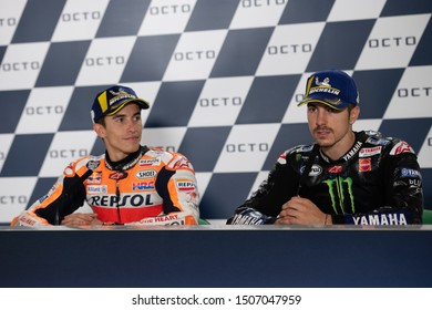 Misano Adriatico, Italy, September 15 2019 MARC MARQUEZ, SPANISH RIDER AND MOTOGP WORLD CHAMPION WITH NUMBER 93 FOR REPSOL HONDA TEAM - MAVERICK VINALES, SPANISH RIDER NUMBER 12 FOR YAMAHA MONSTER TE