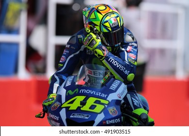 MISANO - ITALY, SEPTEMBER 9: Italian Yamaha rider Valentino Rossi at 2016 TIM MotoGP of San Marino at Marco Simoncelli circuit in Misano on September 9, 2016