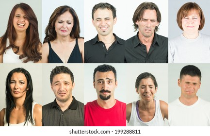 Misarable and sad people crying. Several mugshots combined in collage