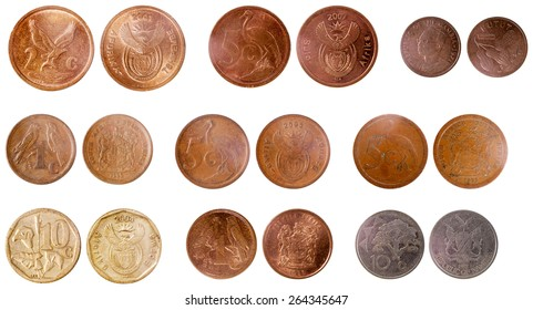 misc old coins of africa isolated on white background