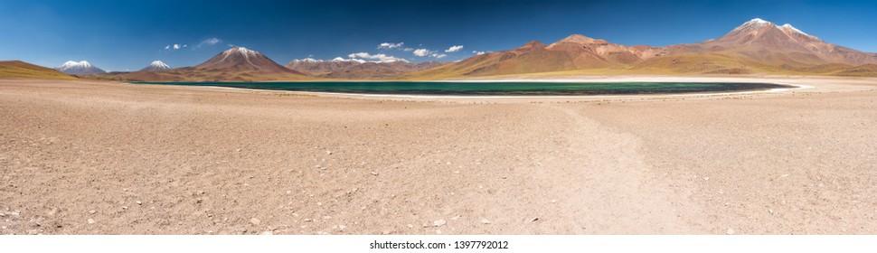Miscanti Lagoon in Desierto de Atacama (Atacama Desert), Chilean altiplano inside Andes. With Miñique Lagoon are the famous Lagunas Altiplanicas. Awe travel destination. Available at higher resolution