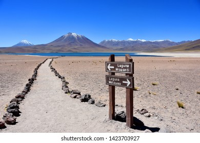 miscanti and miniques volcanos and lagoons signs - atacama desert chile
