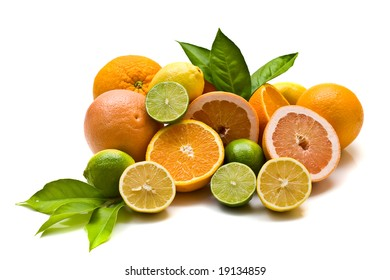 Miscellaneous citrus fruits on white background