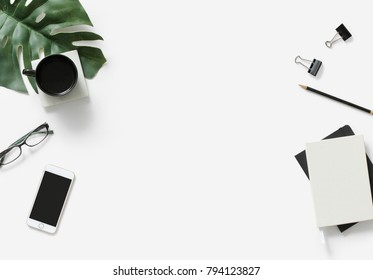 Miscellaneous office stationery isolated on white surface