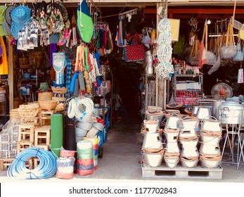 Miscellaneous Shop. Small street shop which sell many product for daily life in Asia. Thailand on September 12, 2018.