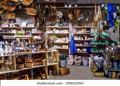 Miscellaneous street shop. Traditional store front with gardening tools and stuff.