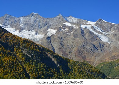 The Mischabel Group (left to right) Taeschhorn, Dom, Lenzspitze, Nadelhorn and Ulrichshorn, in the Swiss Alps above Saas Fee