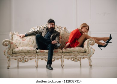 miscommunication. miscommunication of family couple relations. couple of man and woman has miscommunication. business miscommunication between bearded man and sexy woman