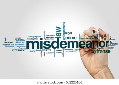Misdemeanor word cloud concept on grey background