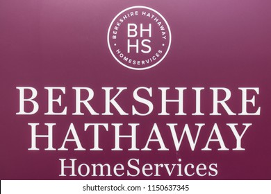 Mishawaka - Circa August 2018: Berkshire Hathaway HomeServices Sign. HomeServices is subsidiary of Berkshire Hathaway Energy I