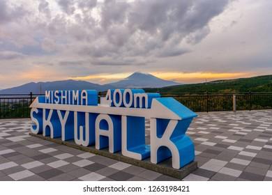 Mishima Sky Walk with Mountain Fuji in background in  Autumn. Mishima Sky Walk is new tourist spot in Mishima Shizuoka Prefecture Japan.