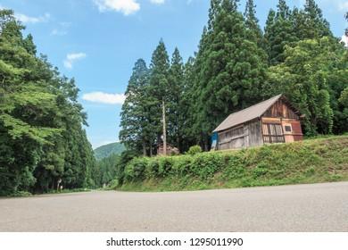 Mishima-cho, Fukushima Prefecture / Japan - August 7th 2017:Country road in Mishima-cho, Fukushima