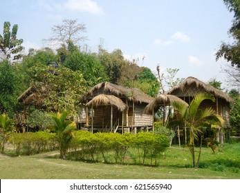 Mishing village family home, Majuli Island, Assam, India