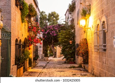 Mishkenot Shaananim - old area of Jerusalem in the evening, Israel