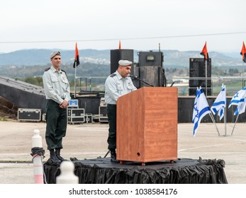 Mishmar David, Israel, Februar 21, 2018 : The officer of the IDF makes a speech on the podium at the formation in Engineering Corps Fallen Memorial Monument in Mishmar David, Israel