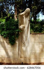 MISHMAR HAAMEK / ISRAEL - APRIL 21 : Monument to   victims of  Warsaw Ghetto during WW II in the kibbutz Mishmar Haamek on 21.04.2017 in Israel. Kibbutz residents are the descendants of Polish Jews.