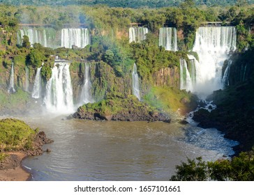 Misiones, Argentina; June 26, 2015;  The Iguazu Waterfalls in the Argentina - Brazil borderline. Rainbow detail over the water