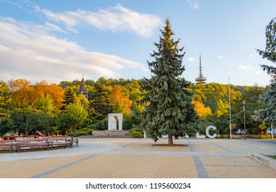 Miskolc city center with Avasi Church and Avas TV-tower in autumn colors