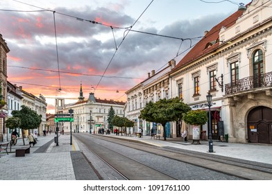MISKOLC, HUNGARY - 8 OCTOBER, 2017: Town Hall square in the historic city center of Miskolc, Hungary