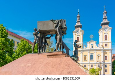 Miskolc, Hungary - April 28, 2018: Monument on Heroes square in Miskolc, second largest city of Hungary.
