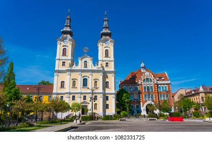 Miskolc, Hungary - April 28, 2018: Heroes square in Miskolc, second largest city of Hungary.