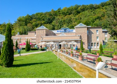 MISKOLC, HUNGARY - AUG 29, 2014: Cave bath complex (Barlangfurdo), a thermal bath complex in a natural cave in Miskolctapolca, which is part of the city of Miskolc, Hungary
