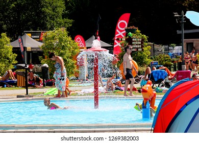 MISKOLC, HUNGARY - august 12, 2018: Cave and pool at Barlangfurdo, a thermal bath complex in a natural cave in Miskolctapolca, is one of the most popular tourist towns of Hungary