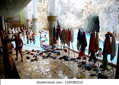 MISKOLC, HUNGARY - august 12, 2018: Wardrobe at cave pool.Cave and pool at Barlangfurdo, a thermal bath complex in a natural cave in Miskolctapolca, is one of the most popular tourist towns of Hungary
