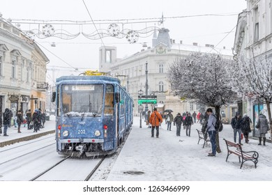 MISKOLC, HUNGARY - DECEMBER 20, 2018: Advent tram with Christmas decorations in the historic city center of Miskolc