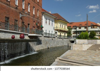 MISKOLC, HUNGARY : Historic City Hall square of Miskolc, Hungary with the building of the City Hall in the background