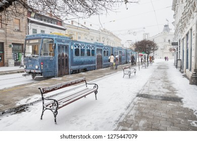 MISKOLC, HUNGARY - JANUARY 05, 2019: Advent tram with Christmas decorations in the historic city center of Miskolc
