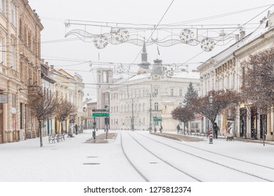 MISKOLC, HUNGARY - JANUARY 05, 2019: Snowfall in the city center of Miskolc near Town Hall Square during winter