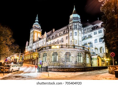 MISKOLC, HUNGARY - JANUARY 12, 2017: Hotel Palota in Lillafured, Miskolc on a snowy winter night. Castle building slightly covered with snow
