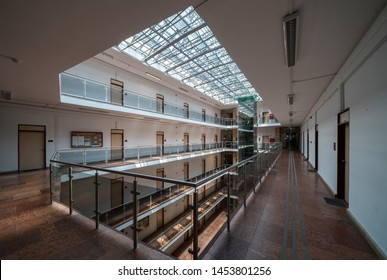 MISKOLC, HUNGARY - JULY 17, 2019: Festive hall of the Main building of University of Miskolc, Hungary.