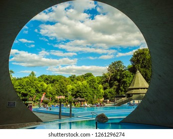 Miskolc, Hungary - July 2, 2018: The pools of the Cave Thermal Bath Miskolc-Tapolca.