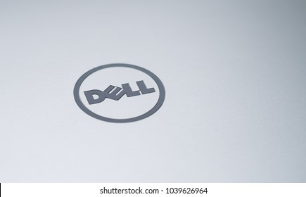 MISKOLC, HUNGARY - MARCH 4, 2018: Dell logo on a laptop's aluminium lid